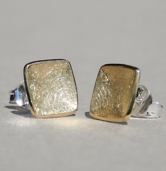 Silberohrstecker -Carree- vergoldet
