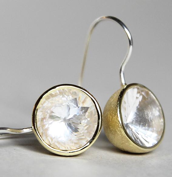 Silberohrhänger vergoldet mit Bergkristall Swirlschliff