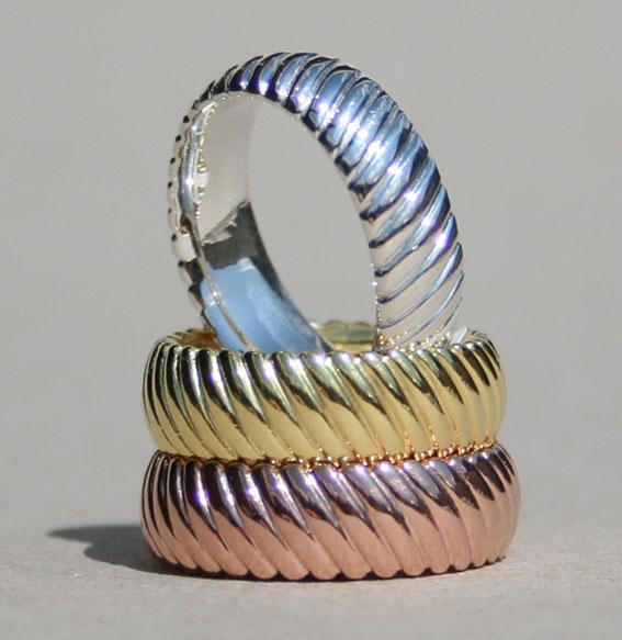 Silberring gedreht 7 mm vergoldet
