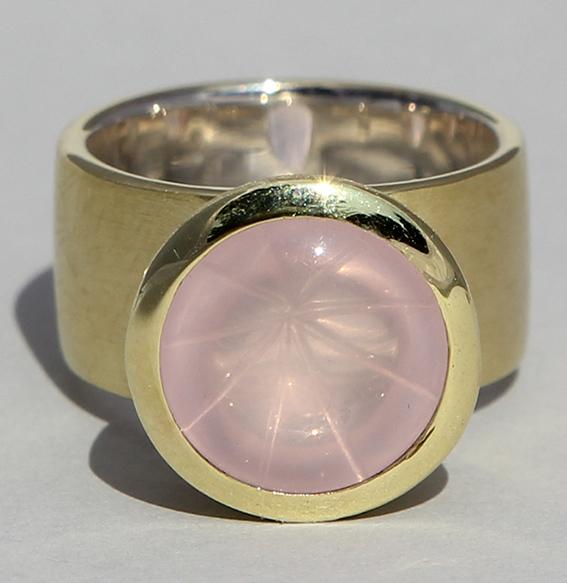 Silberring vergoldet mit Rosenquarz | Noblesse