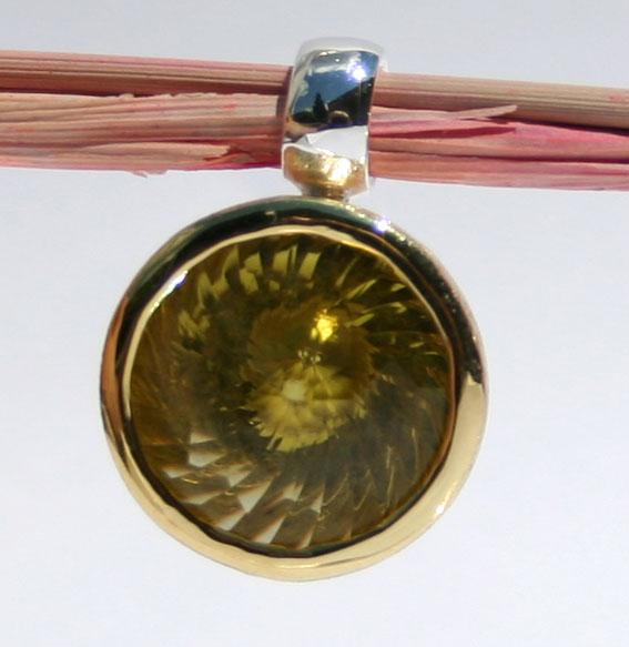 Silberanhänger vergoldet mit Lemonqzarz