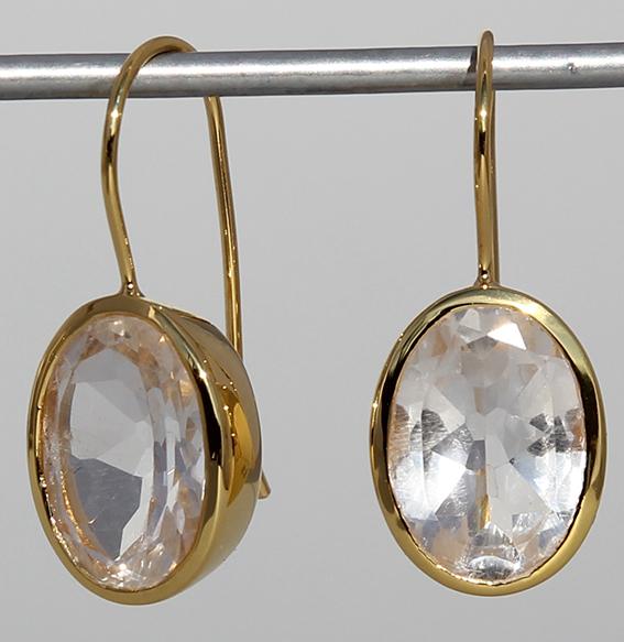 Silberohrhänger vergoldet mit Bergkristall