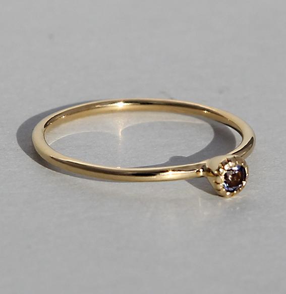Silberring vergoldet Iolith | Krönchen klein