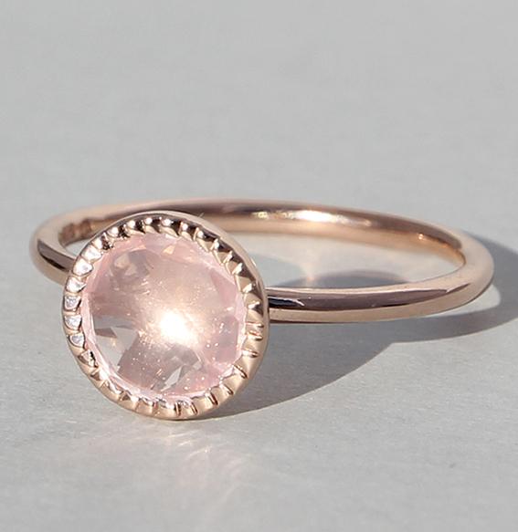 Silberring rosé vergoldet mit Rosenquarz   Spring sparkle klein