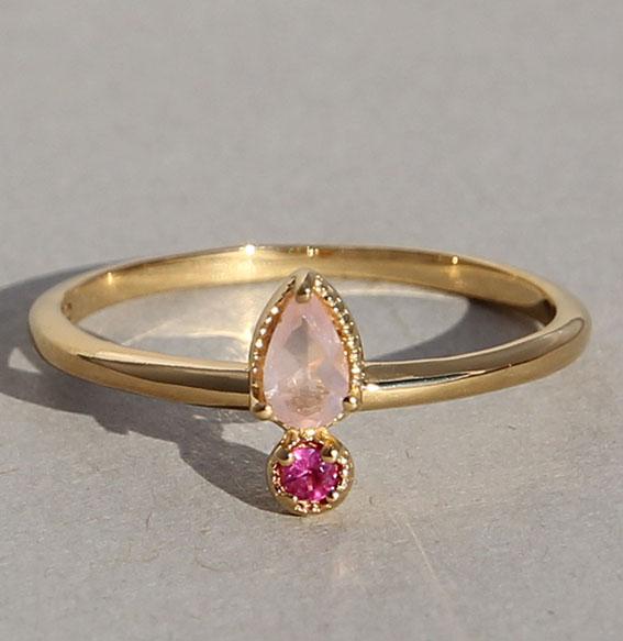 Silberring vergoldet mit Rosenquarz und Rubin