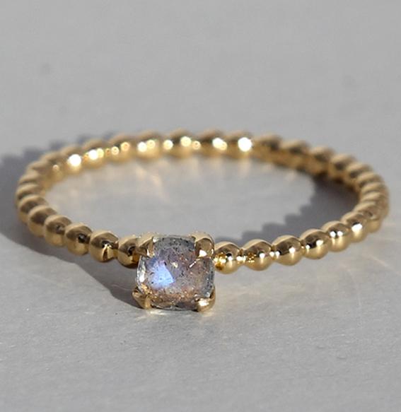 Silberring vergoldet, Labradorit | Krone klein