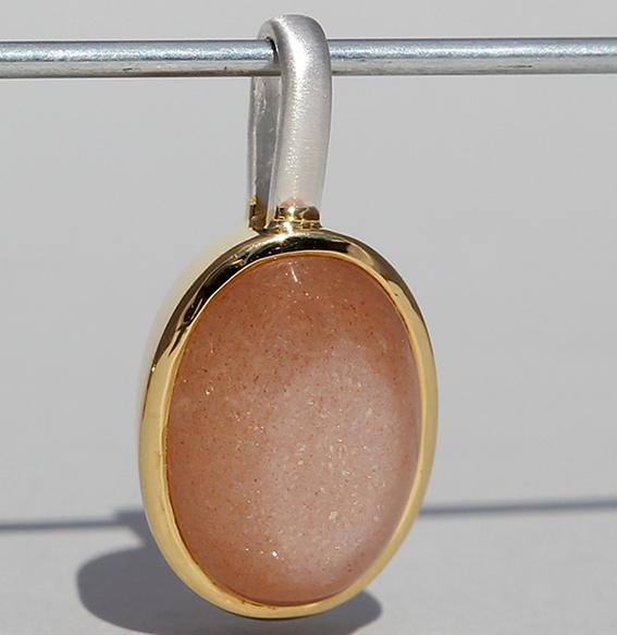 Silberanhänger vergoldet mit Mondstein Orange