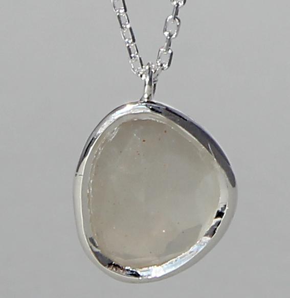 Silbercollier mit Mondstein grau | Fine sparkle big