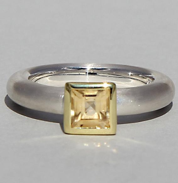 Silberring teilvergoldet mit Citrin | Strack big