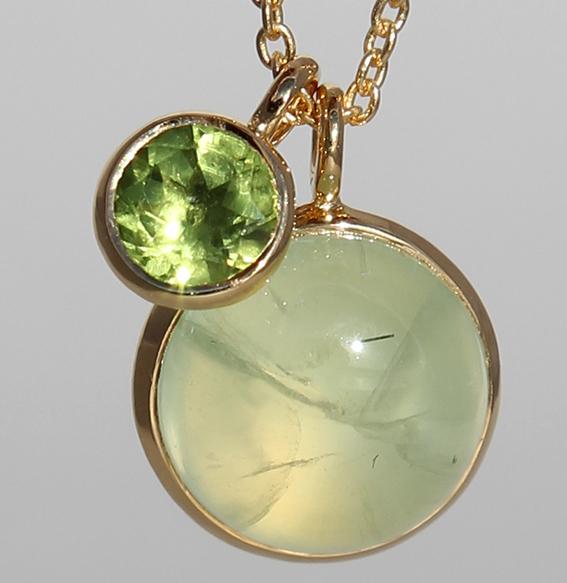 Silbercollier vergoldet Phrenit und Peridot