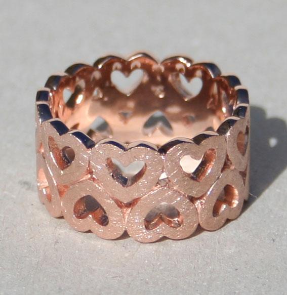 Ring -Heart band- breit | rosé vergoldet