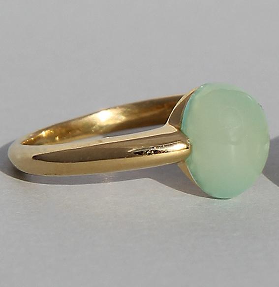 Silberring vergoldet | Pear mit Chalcedon