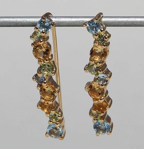 Silberohrhänger vergoldet mit Citrin, Topas und Peridot