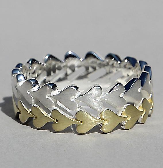 Silberring 2-reihig vergoldet | Herzchenband