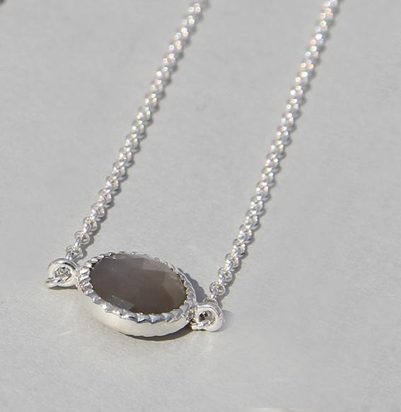 Silberarmband mit Mondstein grau | Spring sparkle