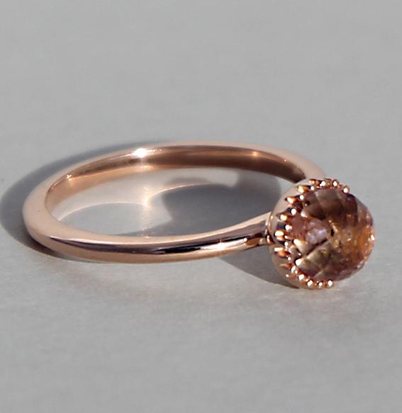 Silberring rosé vergoldet Amethyst | Krönchen groß