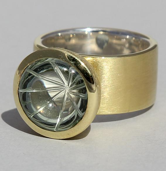 Silberring vergoldet mit Prasiolith | Noblesse