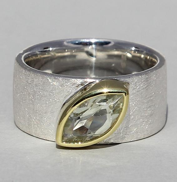 Silberring teilvergoldet mit Prasiolith | Mathilda