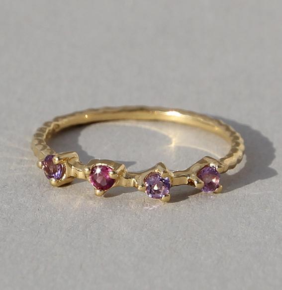 Silberring vergoldet mit div. Steinen