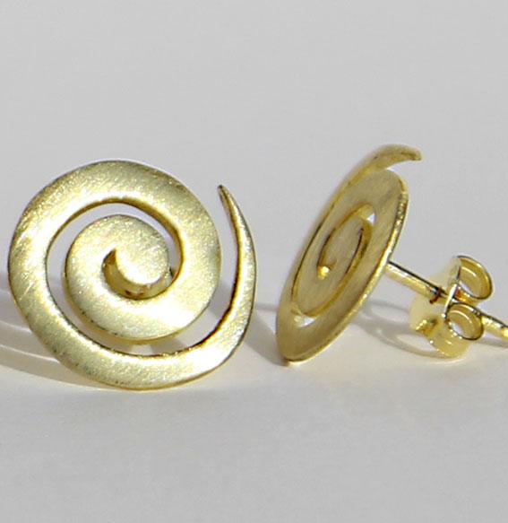 Spiral-Ohrstecker vergoldet | groß