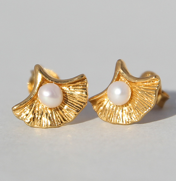 Silberohrstecker vergoldet mit SWZ Perle   Perlmuschel mini