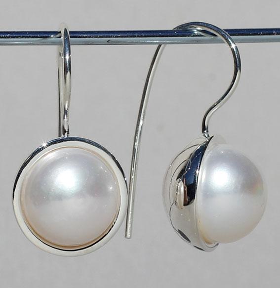 Silberohrhänger | Button mit Mabe Perle