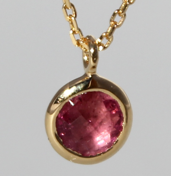 Silberanhänger vergoldet mit Turmalin pink   fineflat