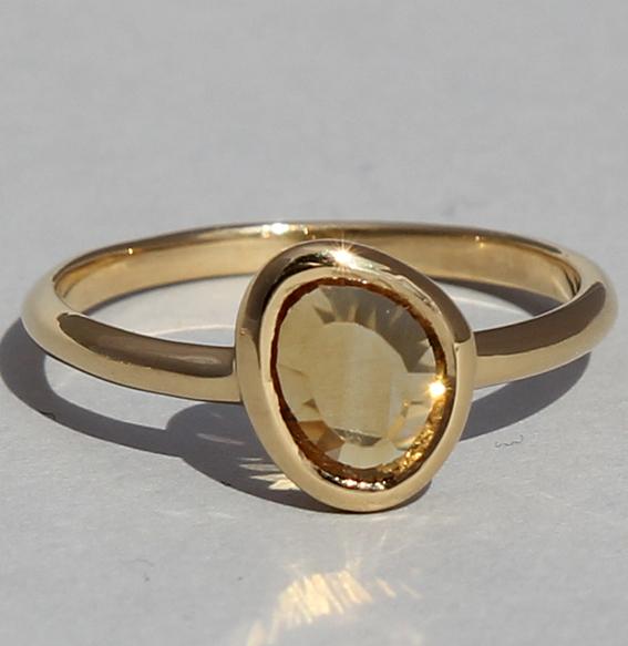 Silberring vergoldet mit Citrin | fine sparkle