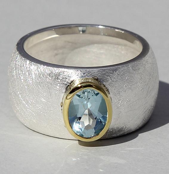 Silberring teilvergoldet mit Topas | Golan oval