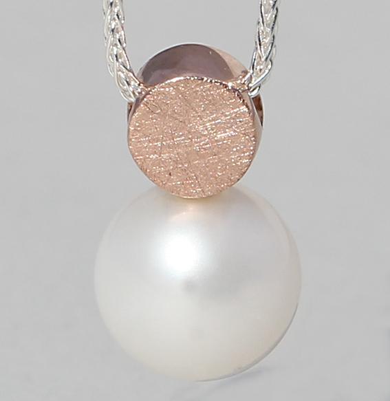 Silberanhänger rosé vergoldet mit SWZ-Perle | Knopf