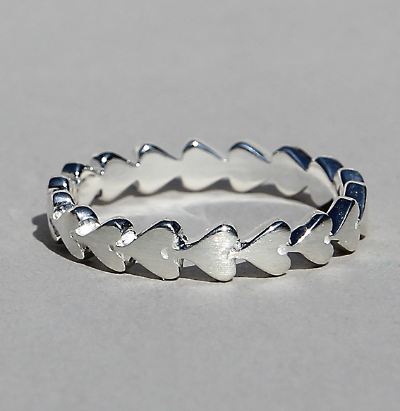 Silberring 1-reihig | Herzchenband