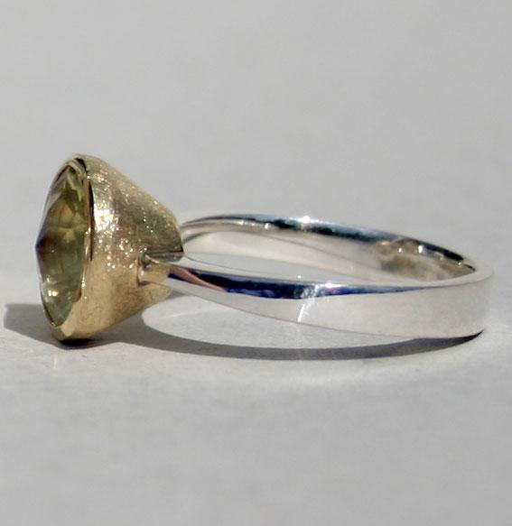 Silberring vergoldet mit Lemonquarz