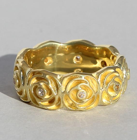 """Silberring """"Rose"""" vergoldet"""