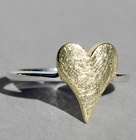 Silberring vergoldet | sharp heart