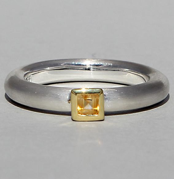Silberring teilvergoldet mit Citrin | Strack smal