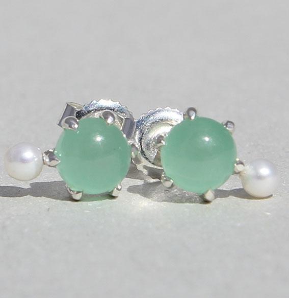 Silberohrstecker mit Aventurin und Perle