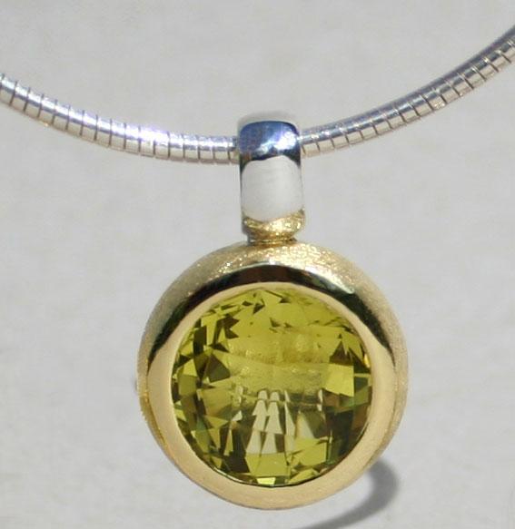 vergoldeter Silberanhänger mit Rauchquarz (Bild mit Lemonquarz)