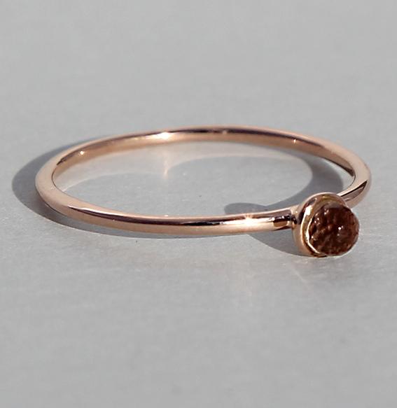 Silberring rosé vergoldet Amethyst | Micro