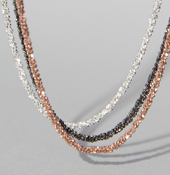 Discokette silber rhodiniert, rosé, vergoldet 38+5 cm (Abb.geschwärzt)