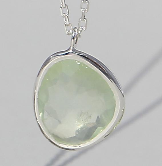Silbercollier mit Prehnit | Fine sparkle big