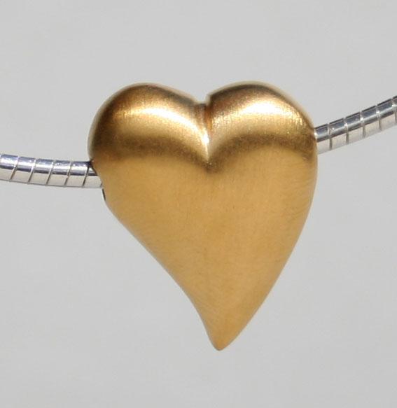 Herz quergebohrt matt vergoldet | Mini