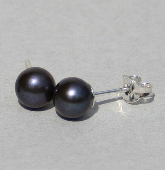 SWZ Perlenohrstecker schwarz