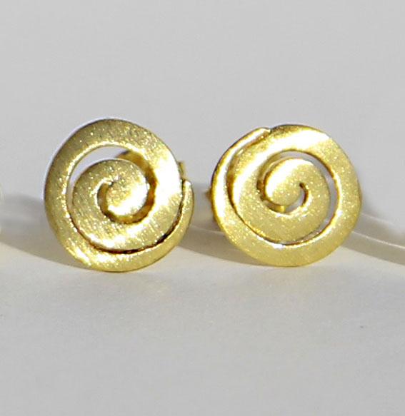 Spiral-Ohrstecker vergoldet | klein