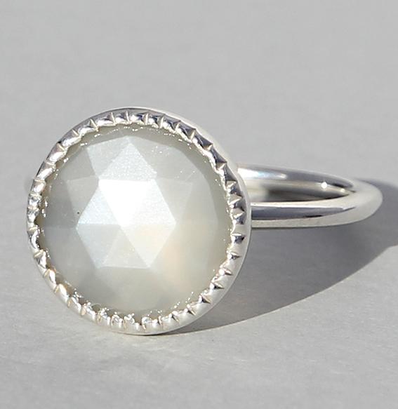 Silberring mit Mondstein grau | Spring sparkle