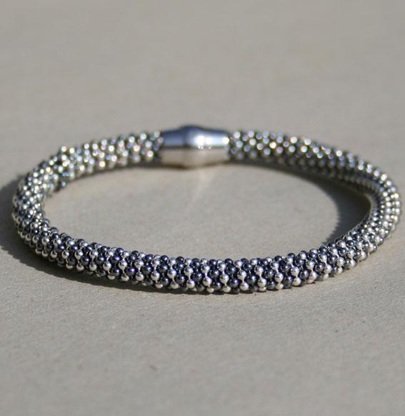 Silberkette -Kugel- 5 mm | teilweise geschwärzt (Abbildung Armband)