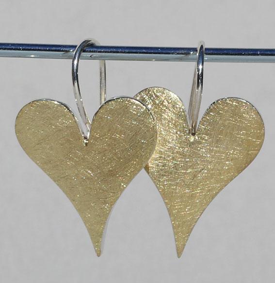 Silberohrhänger vergoldet | sharp heart