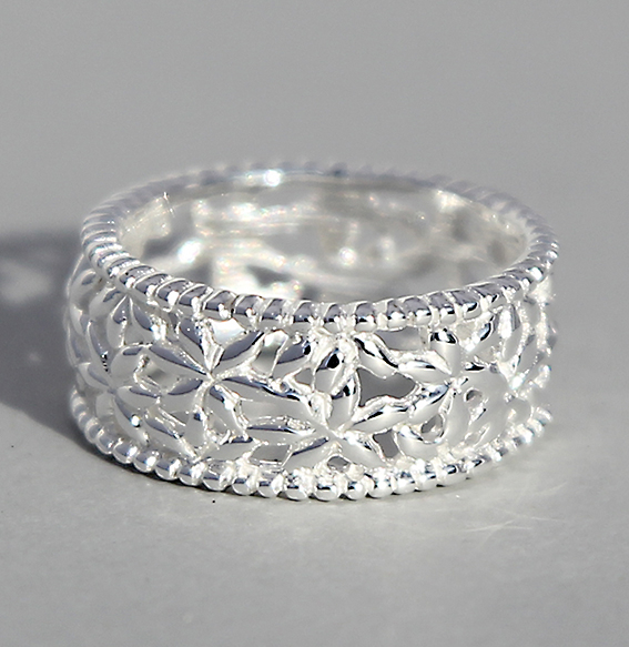 Silberring | Blumenband