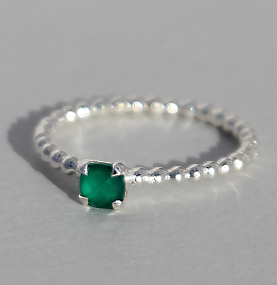 Silberring Achat grün | Krone klein