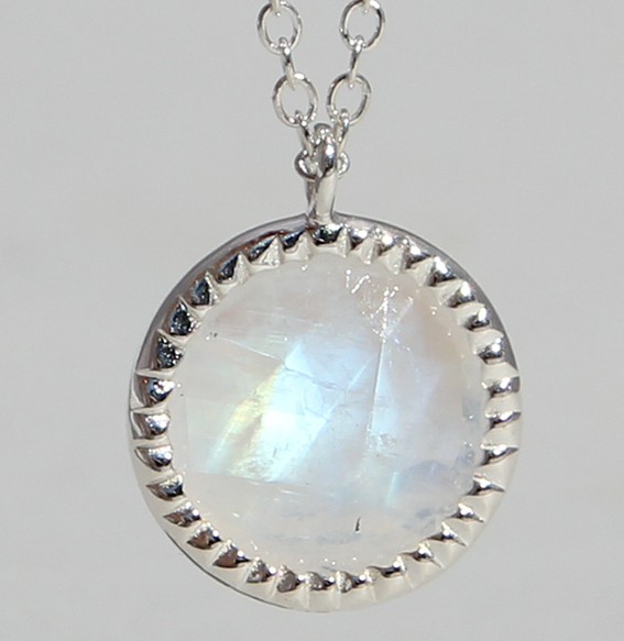 Silbercollier mit Mondstein | Spring sparkle (Abbildung Rosenquarz vergoldet)
