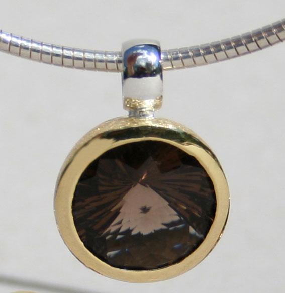 Silberanhänger vergoldet mit Rauchquarz